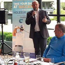 Peter speaking at the 2013 Manchester City charity golf day
