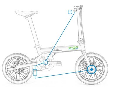Foldable electric bike illustration showing PAS riding system.
