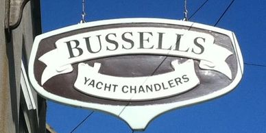 Sign for Bussells Yacht Chandlers in Weymouth