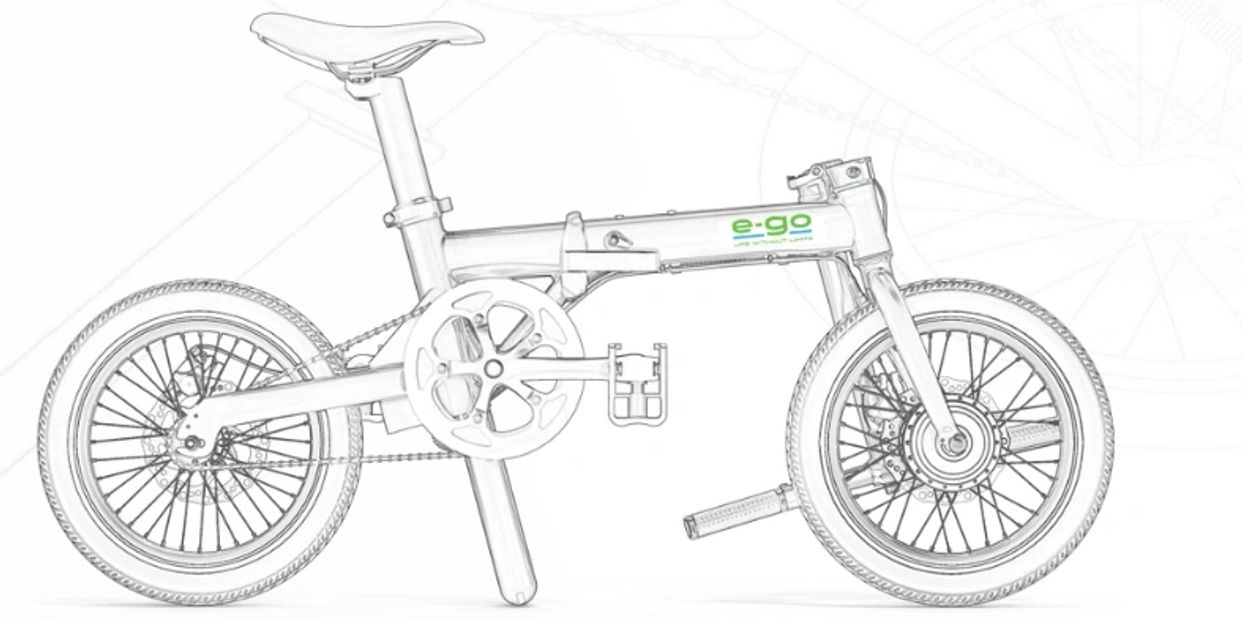 Foldable electric bike illustration.
