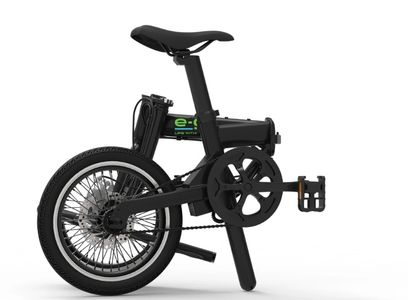 Black aluminium alloy frame of electric foldable e bike.