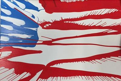 Spin art sample 4th of July flag spin art from Awesome Parties & Events