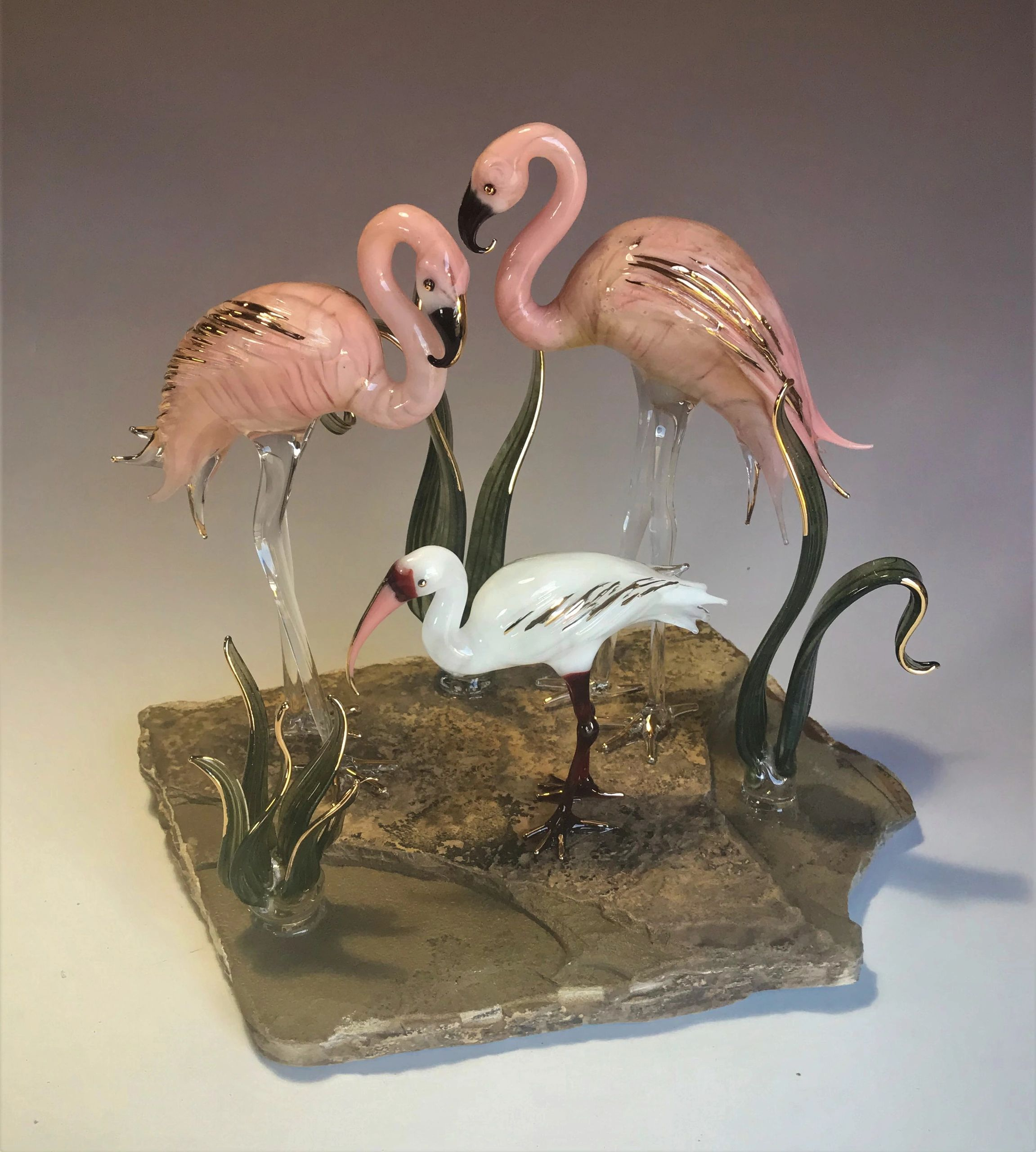 Flamingos and Ibis on stone.  Please contact me to reorder this one of a kind piece. Not yet listed