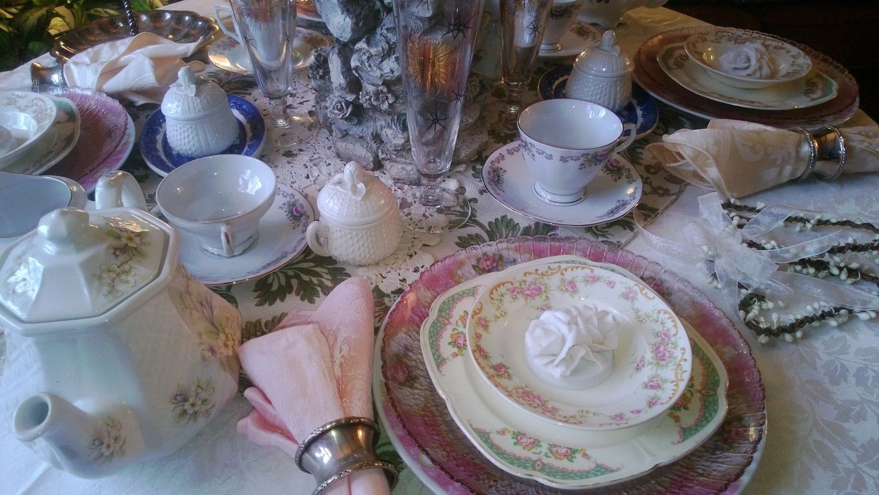 Vintage Glam Tea Party Table Setting