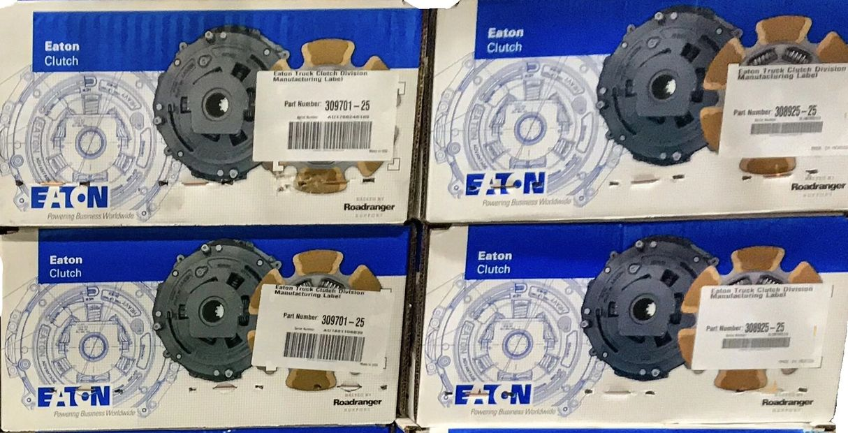 A pallet of new Eaton Clutches for installation at H&H Truck Parts commercial truck repair shop in Cleveland, OH