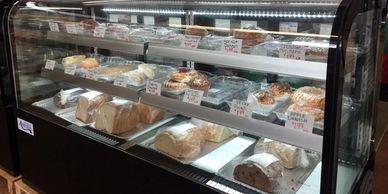 Fresh baked bread, pastries, cakes, and cookies.