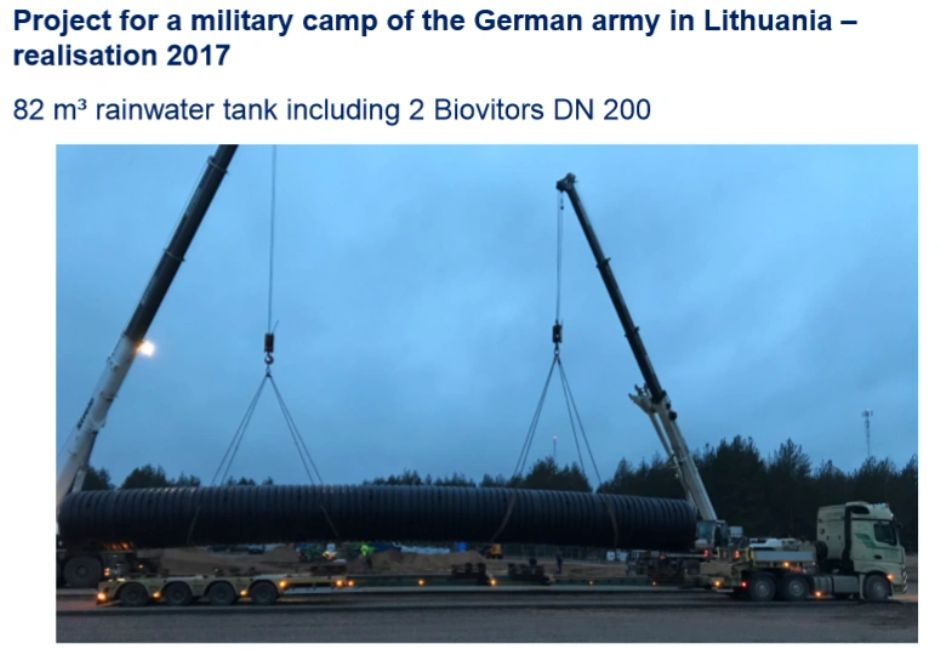 Large water treatment system tank for water purification for the German in Lithuania