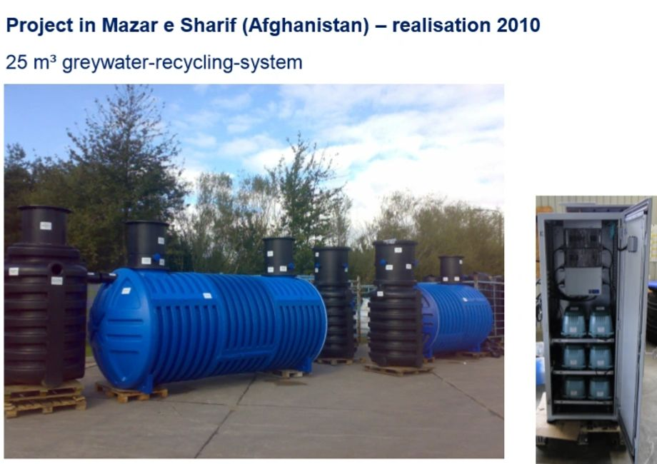 Large water treatment system tank for water purification for an Afghanistan military location