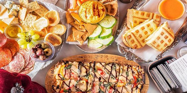 Nosh. Light bites, Hummus, Grilled Cheese, Hummus, Swine & Bovine charcuterie, vegan, vegetarian