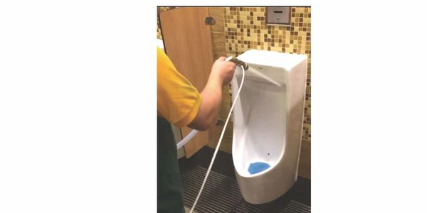 The ProMedUSA SG-OzPAK quickly cleans, sanitises and deodorises a very smelly men's toilet in less t