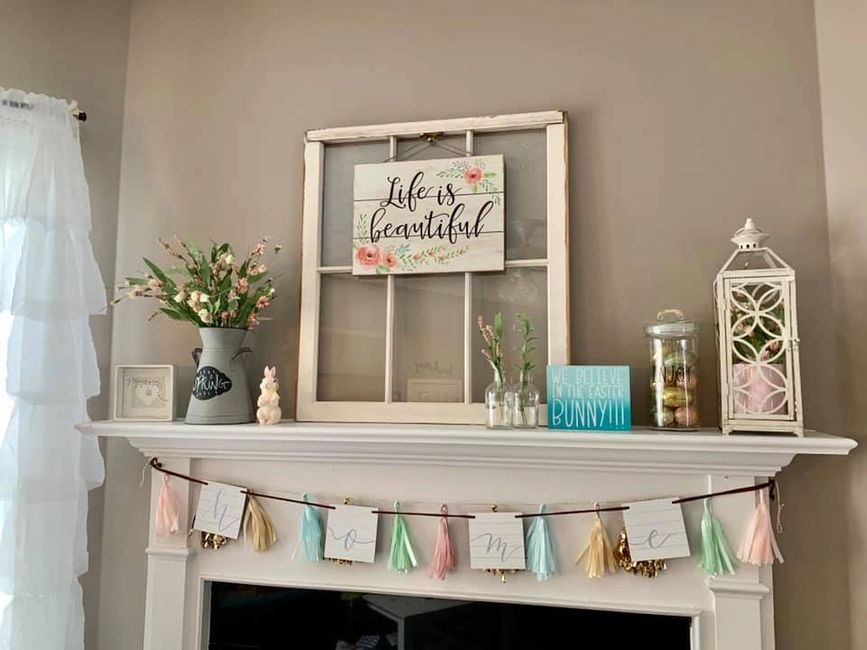 Decorating my mantle is a quick way to freshen up your living room space!!