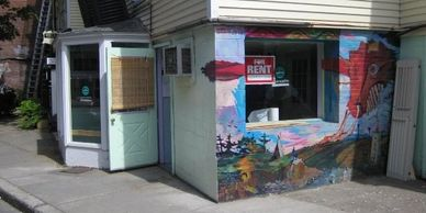 Artist Hannah Sarvasy mural created in 2003 in Cambridge Massachusetts. It was replaced in 2007