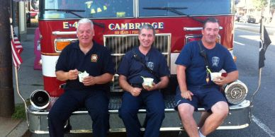 Cambridge Massachusetts firefighters enjoying BerryLine on a hot day