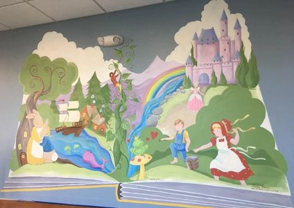 Designs by Arianne Fairy Tale Pop-up Mural at UNC Panther Creek Pediatrics