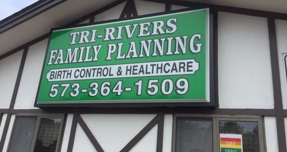 Building sign. Tri-Rivers Family Planning Birth Control & Healthcare 543.364.1509