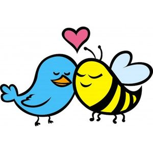Cartoon image of bird and bee with heart.