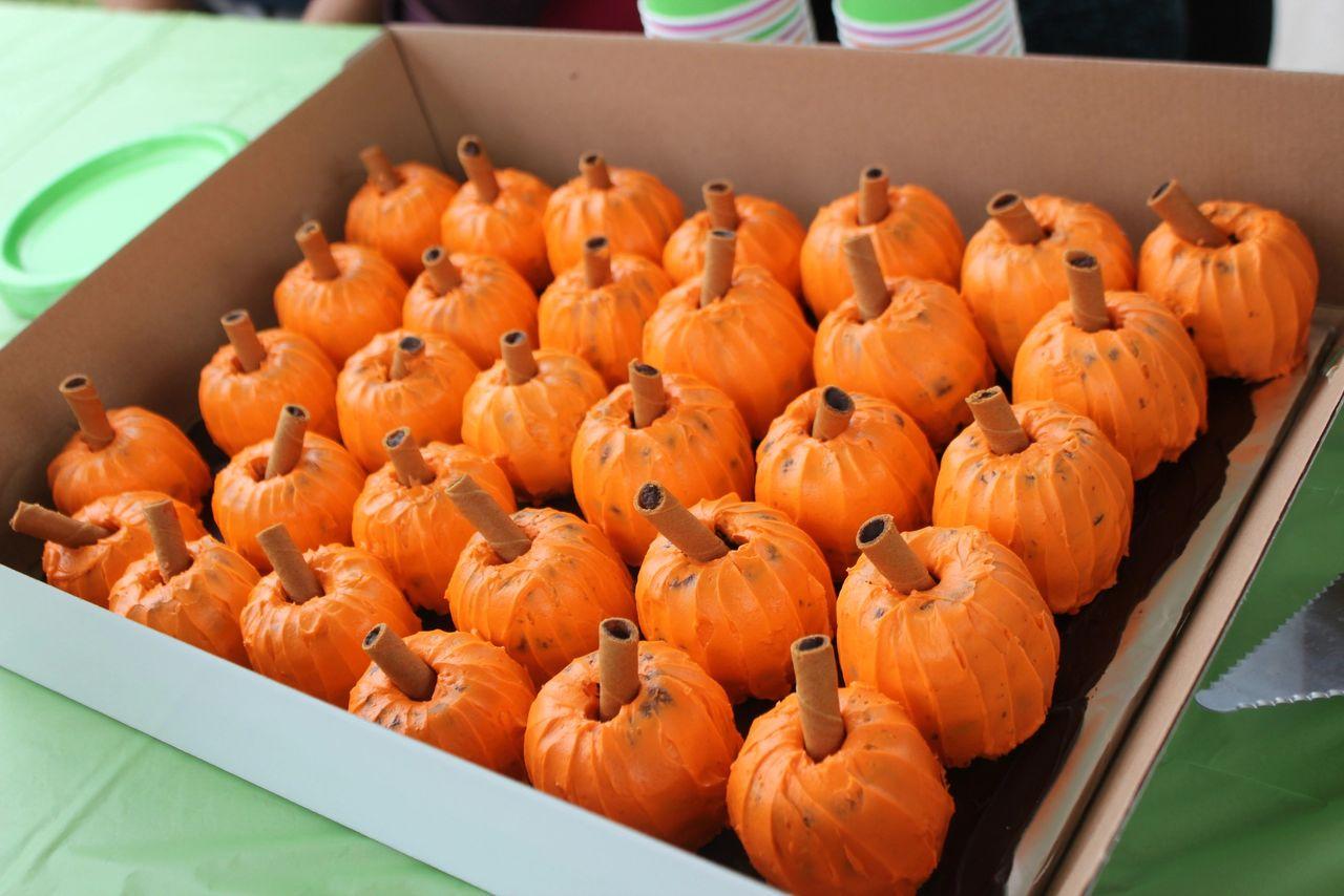 Pumpkin Cupcakes - Little Pumpkin Birthday Made with mini bunt cake pans