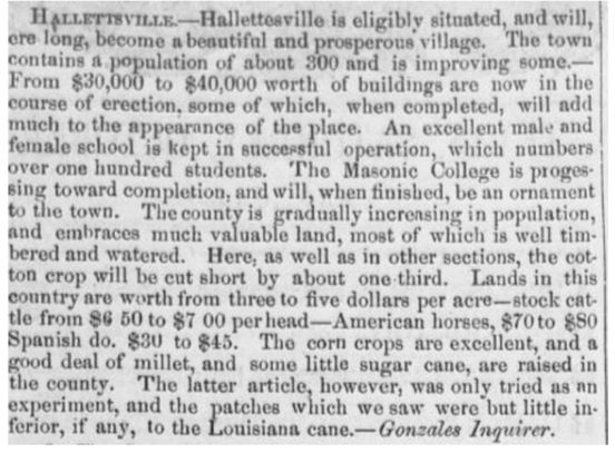 Newspaper article from 1854 heralding the qualities of Hallettsville.
