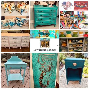 Upcycled painted furniture, Pyrex, Dixie Belle chalk paint and General Finishes milk paint.