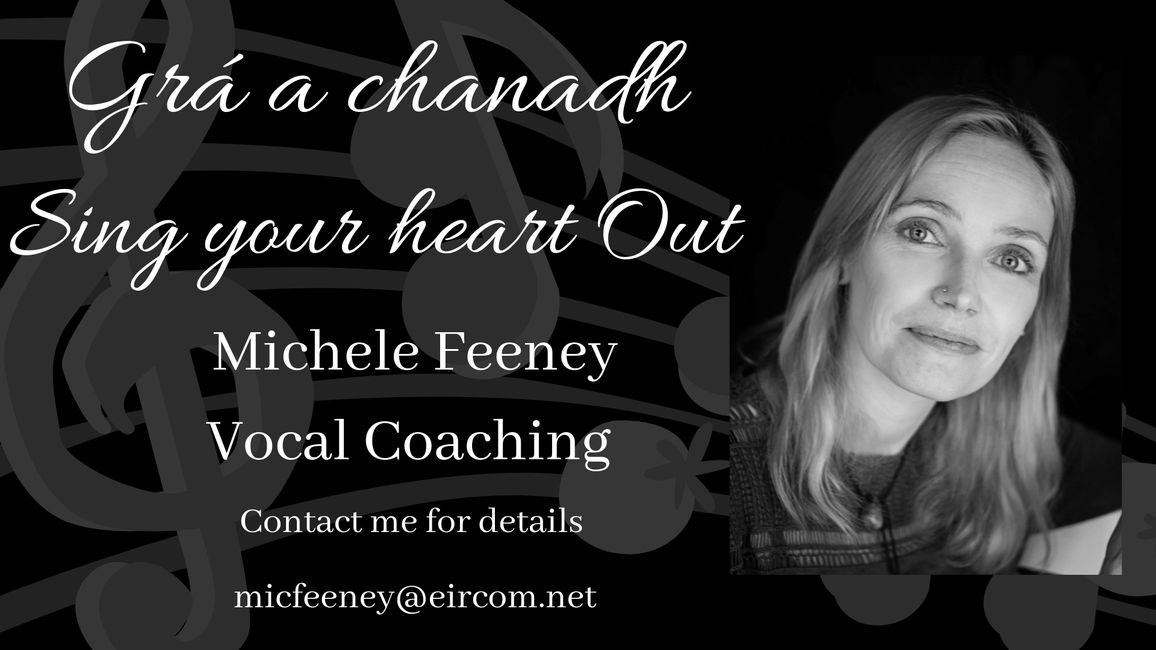 Logo with Michele Feeney Singer and celebrant advertising vocal teaching singing teaching and life