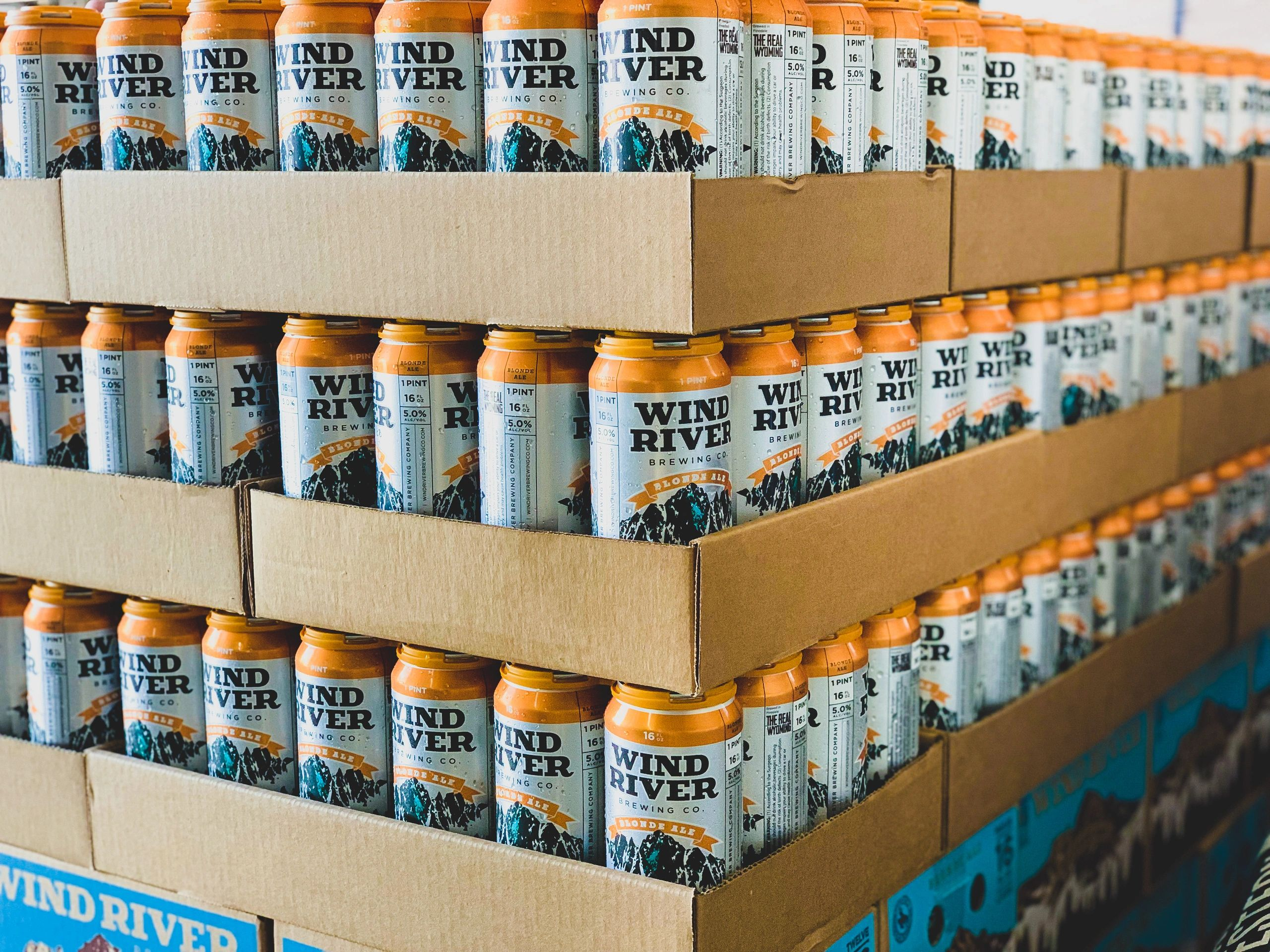 cans of craft beer from wind river brewing company