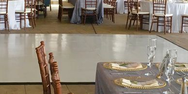Our white dance floor provides an elegant touch to take any event up a notch