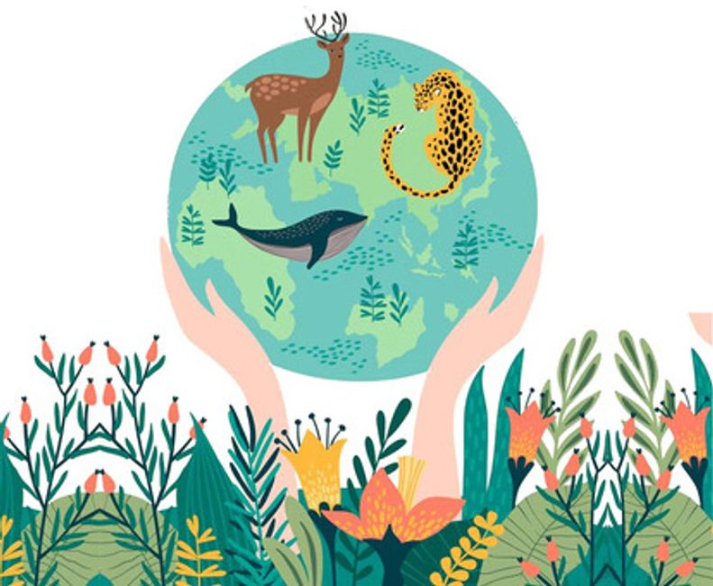 Hands holding Earth with deer, whale and cheetah