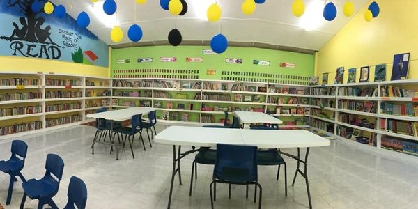 The New School Library! Thanks to our donors.
