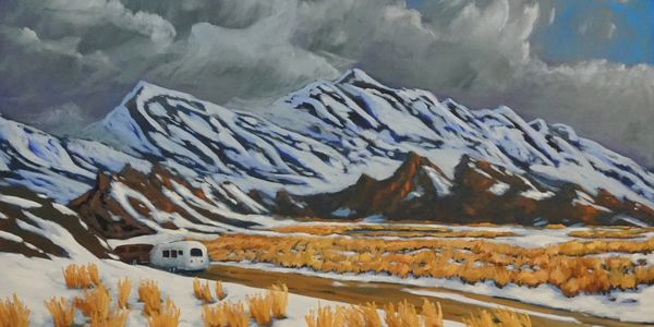 Oil on Canvas landscape painting of an Airstream in the Sierra Nevada mountains in California