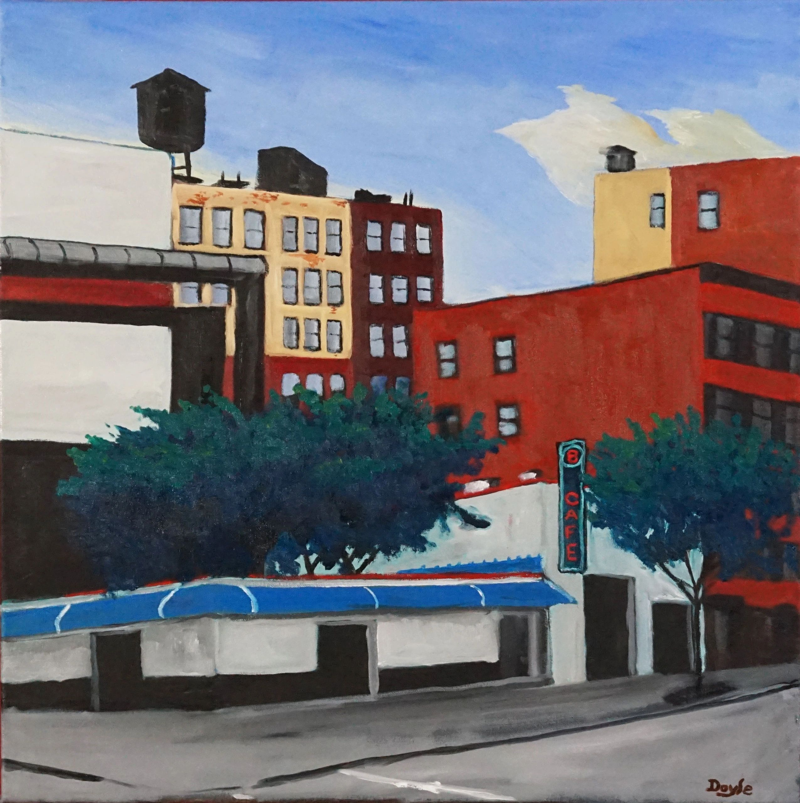 Oil on Canvas by Timothy Doyle Bowery at 4th Street New York City East Village Painting