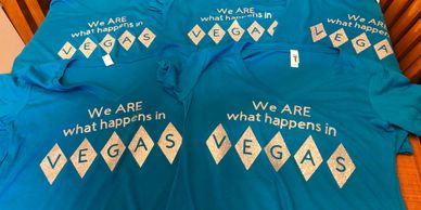 We are what happens in Vegas t-shirts for 50th birthday party trip.