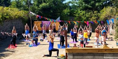 Joga yoga in the Boatyard. Summer events. Outdoor yoga with Jo