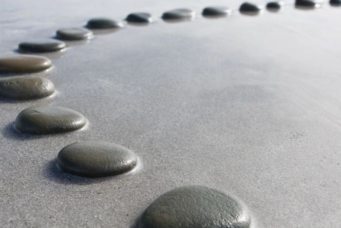 Stepping stones make a peaceful pattern.