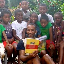 Erik the Reptile Guy Live in Madagascar, reading with children his first  published book