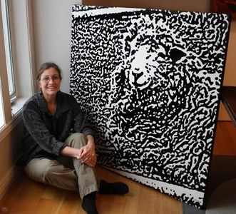 Sherry sitting near 4'x4' sheep painting from black and white Camouflage Series