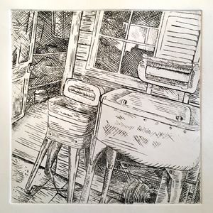 Etching from Besendorfer Ranch series - Washing station where clothes were rubbed on washboard