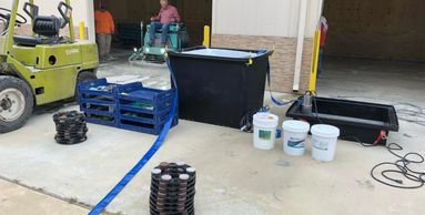 SlurryStation for job site concrete slurry management. the system allows for water recycling.