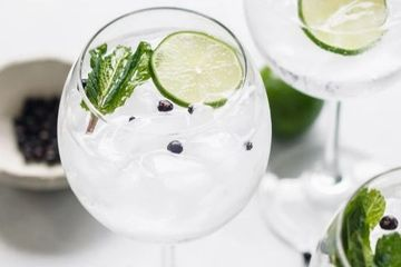 gin and tonic with lime, mint and cracked black pepper