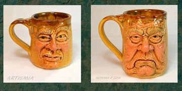 Handmade hand-sculpted pottery ceramic face mugs