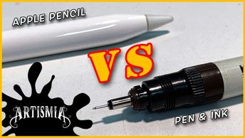 Youtube video Thumbnail of Apple Pencil vs Pen and Ink.