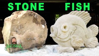 stone carving sculpture carved fish