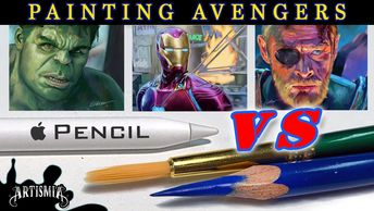 Youtube thumbnail of new video. Digital vs traditional. Painting AVENGERS.  Apple Pencil