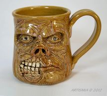 Handmade Pottery Face Stein Zombie FSCS002004