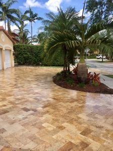 Travertine  driveway paver, Noce color