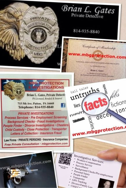 Professional duties as  a Private Detective with services offered including investigations.