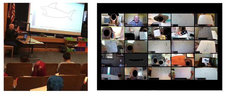 Mike Artell does in-person as well as virtual school visits.