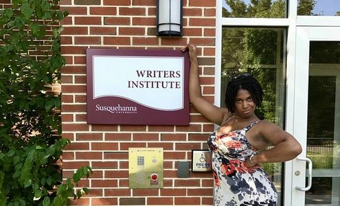 Monica Prince outside the Writers Institute at Susquehanna University, Selinsgrove, PA, August 2017