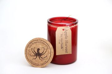 apple harvest scented soy candle. made with nutmeg, clove, orange, and cedar wood essential oils