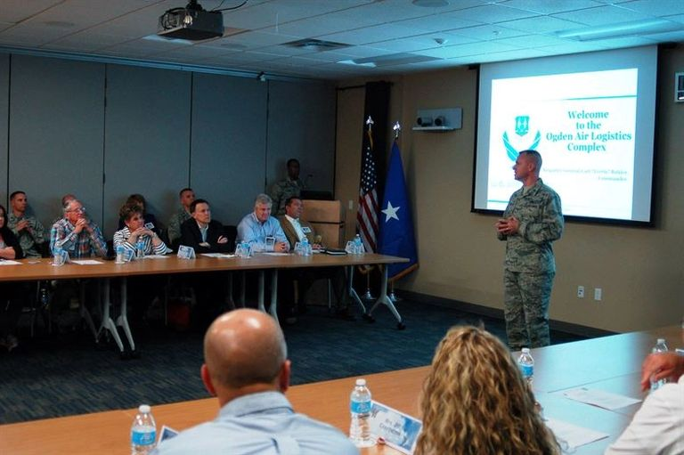 Brigadier General Carl Buhler briefs community leaders in Utah (2015).