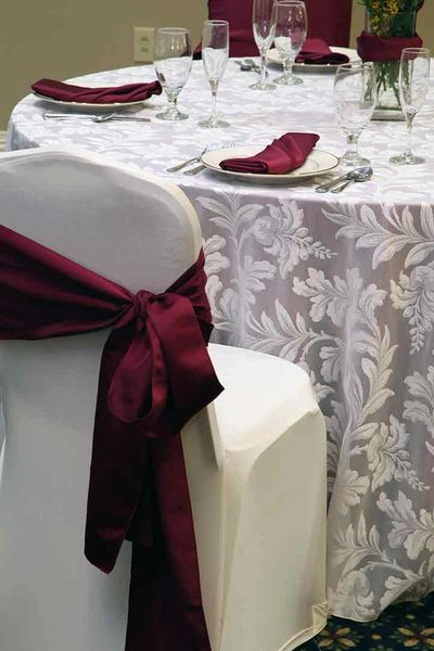 Rent party linens in Becker, MN. Rent Table Cloths, Napkins, Chair Covers, and wedding decorations.